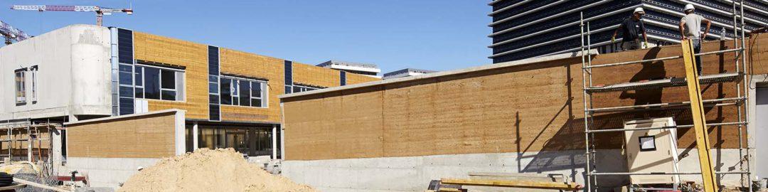 Construire en terre à Nanterre … Avancement du chantier de l'école Miriam Makeba